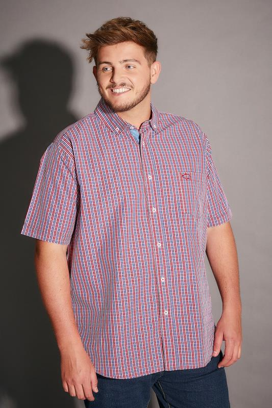 BadRhino Red & Blue Small Grid Check Short Sleeve Shirt