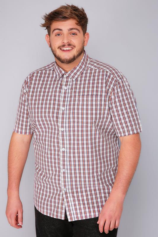 BadRhino Red, Blue & White Checked Short Sleeve Shirt