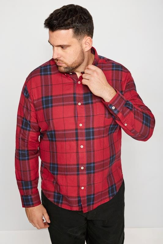 Casual Shirts BadRhino Red Brushed Checked Shirt 200668