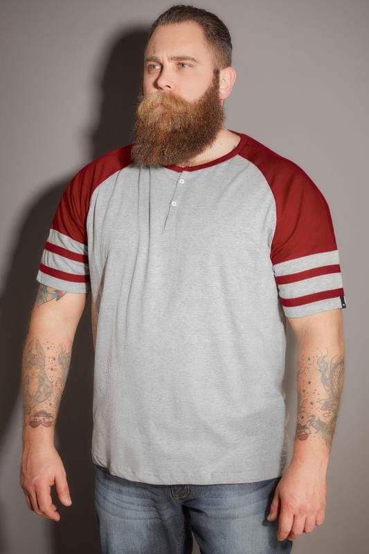BadRhino Red & Grey Marl Baseball Stripe Sleeve T-Shirt With Button Detail