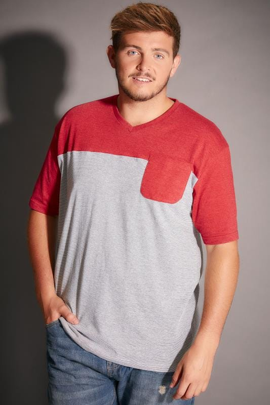 BadRhino Red & Grey Marl Stripe V-Neck Pocket T-Shirt - TALL