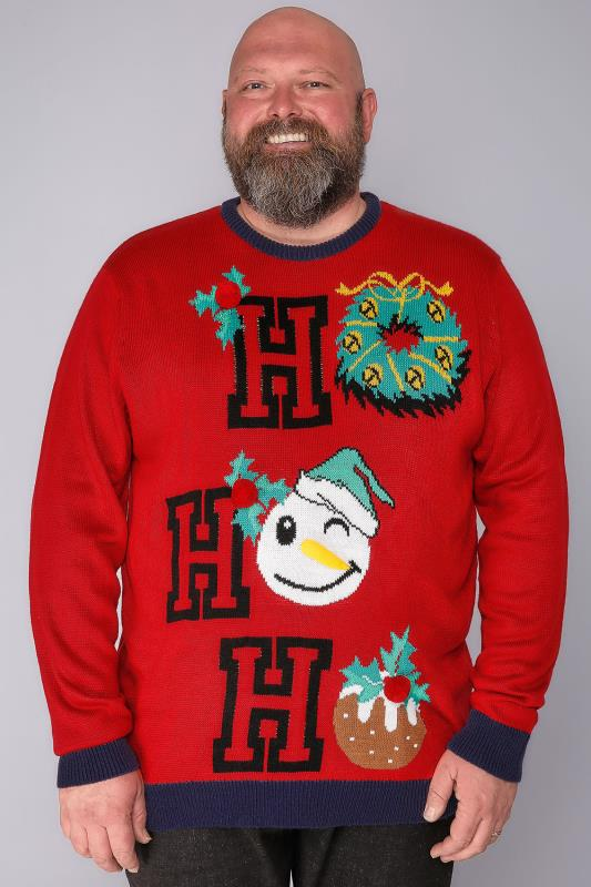 "BadRhino Red ""Ho Ho Ho"" Novelty Christmas Jumper"