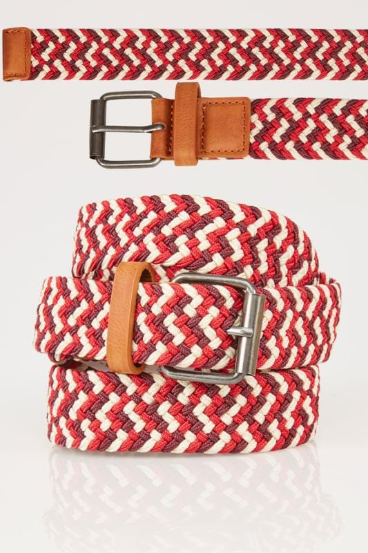 Belts & Braces BadRhino Red & Multi Stretch Woven Belt 200936