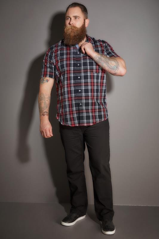 BadRhino Red & Navy Checked Short Sleeved Shirt