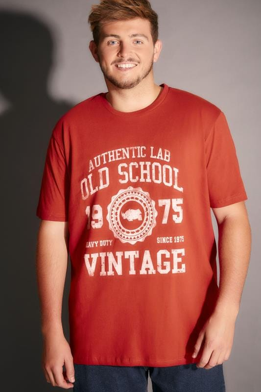 BadRhino Red Old School Slogan T-Shirt - TALL