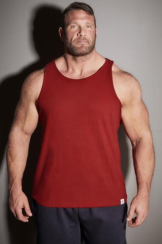 Vests BadRhino Red Plain Crew Neck Cotton Vest 110247