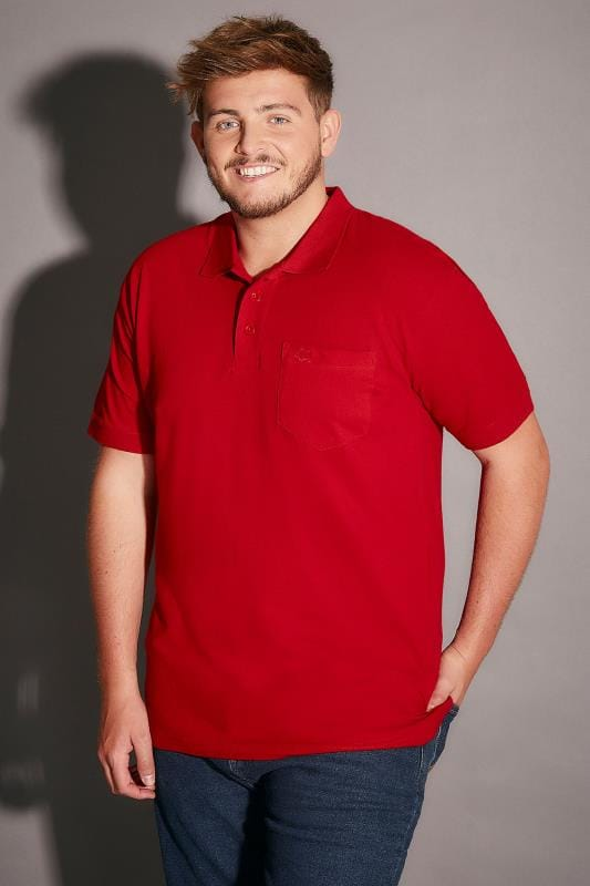 BadRhino Red Plain Polo Shirt With Chest Pocket