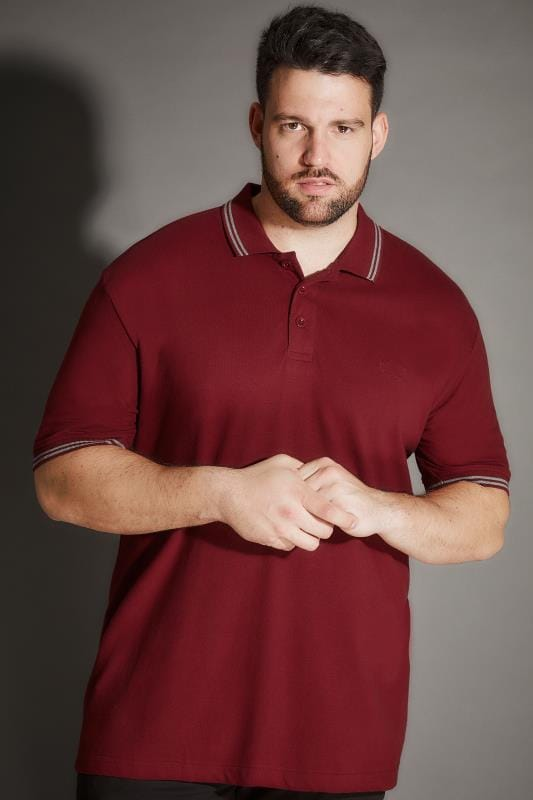 BadRhino Red Polo Shirt With Grey Stripe Detail