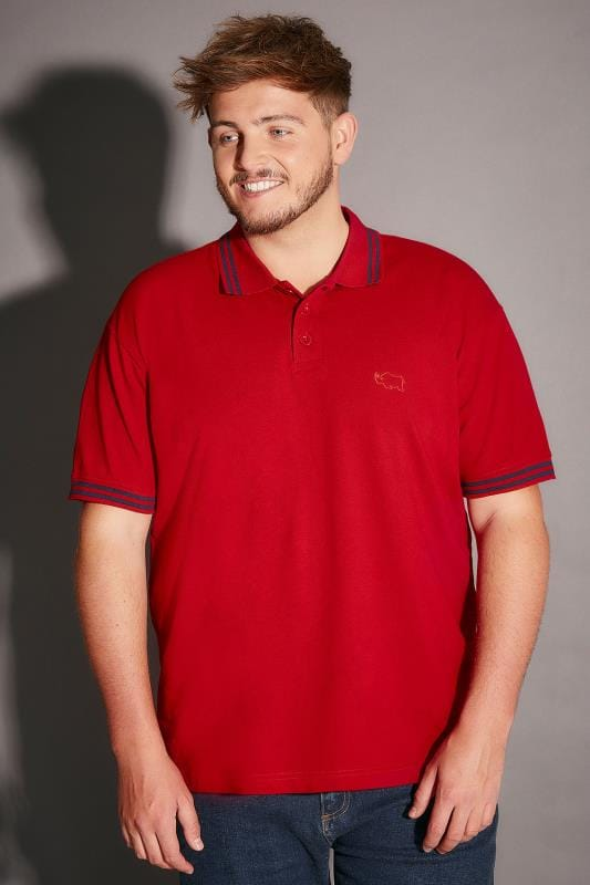BadRhino Red Polo Shirt With Navy Stripe Detail - TALL