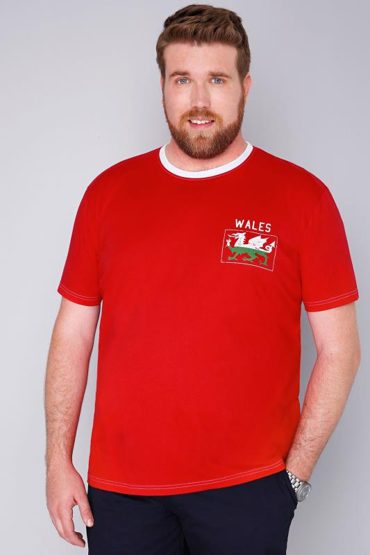 BadRhino Red Short Sleeve T-Shirt With Wales Emblem