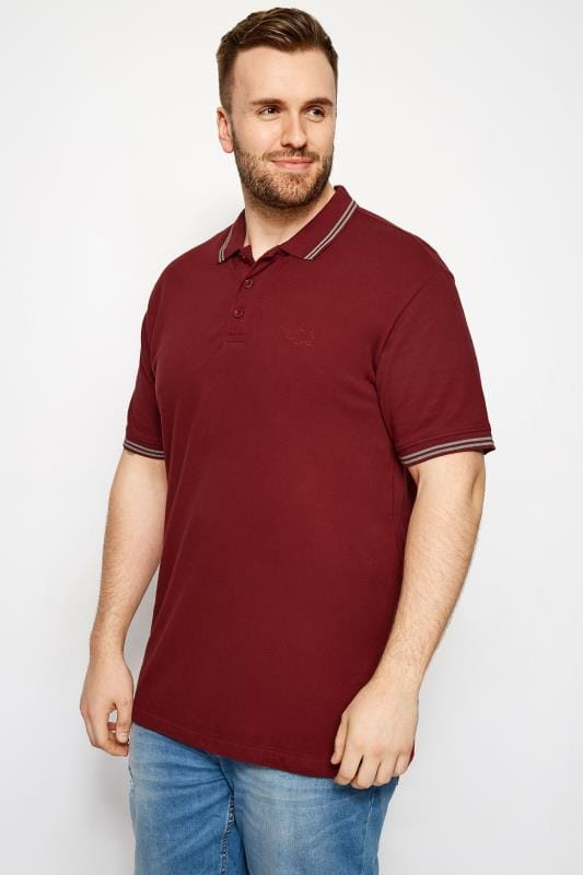 BadRhino Red Textured Tipped Polo Shirt