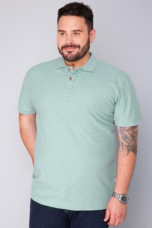 BadRhino Short Sleeve Aqua Marl Vintage Washed Polo - TALL