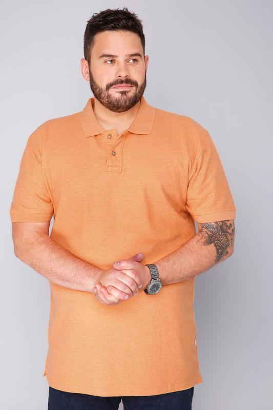 BadRhino Short Sleeve Orange Marl Vintage Washed Polo