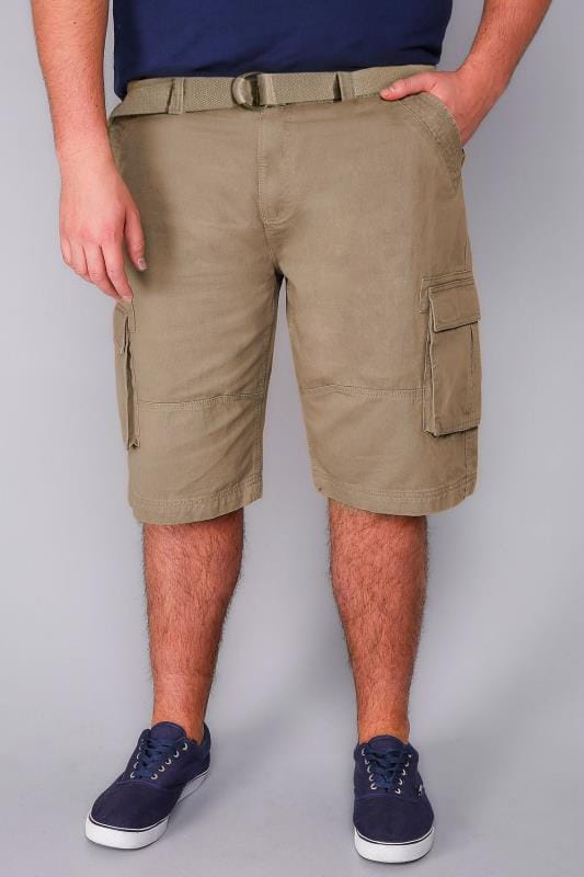 BadRhino Stone Brown Cargo Shorts With Canvas Belt