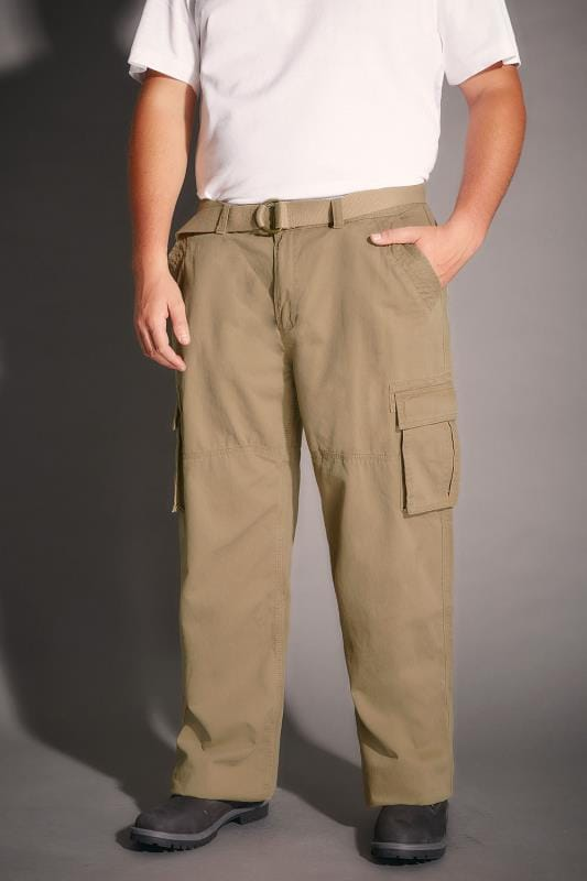 Cargo Trousers BadRhino Stone Brown Cargo Trousers With Utility Pockets & Canvas Belt 110394