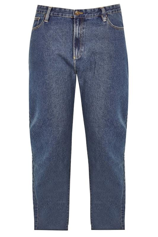 BadRhino Stonewash Denim Straight Leg Jeans With Unfinished Raw Hem