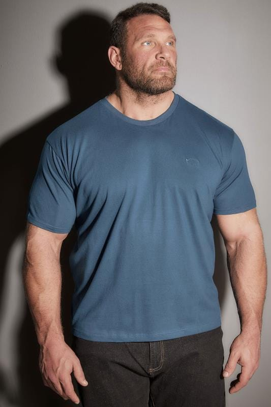 BadRhino Teal Blue Crew Neck Basic T-Shirt