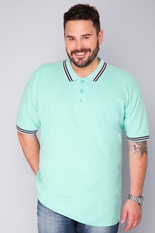 BadRhino Turquoise & Dark Purple Short Sleeved Polo Shirt