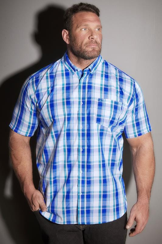 BadRhino Turquoise & White Large Grid Check Short Sleeve Shirt