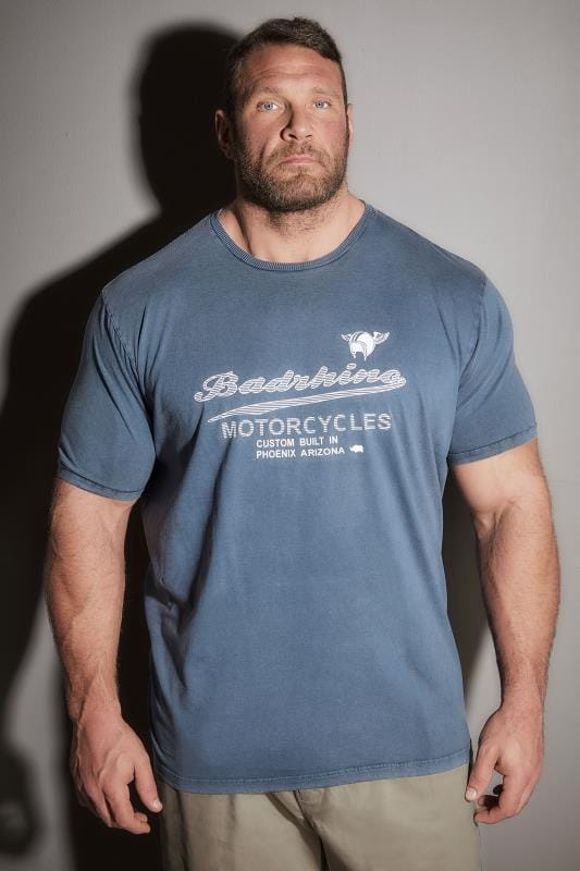 T-Shirts BadRhino Vintage Blue Motorcycle Slogan T-Shirt 200121