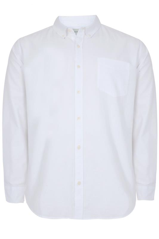 4854807be621be BadRhino White Cotton Long Sleeved Oxford Shirt Extra large sizes L to 8XL