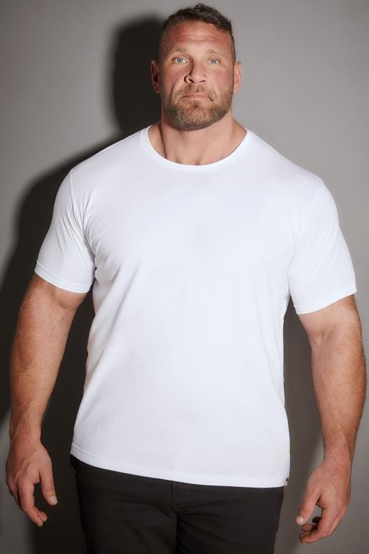 T-Shirts BadRhino White Crew Neck Basic T-Shirt 110276
