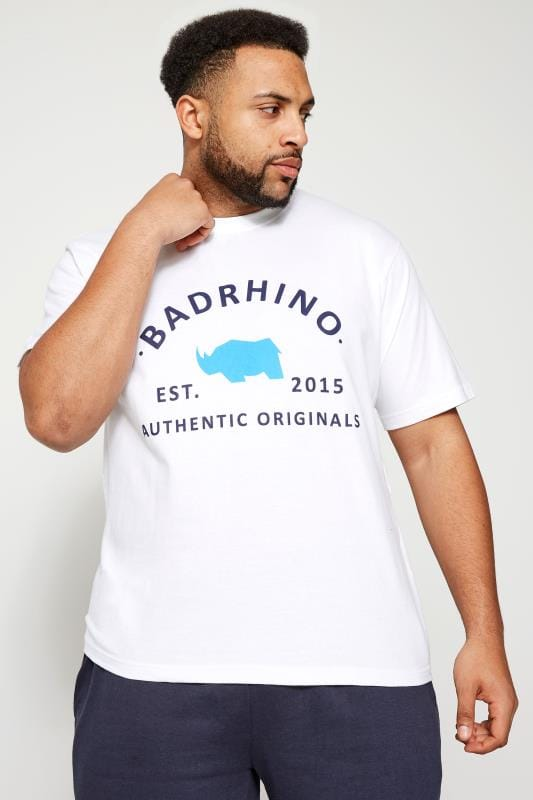 T-Shirts BadRhino White Crew Neck Logo T-Shirt 200096