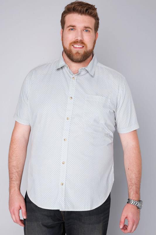 BadRhino White, Grey & Blue Printed Short Sleeve Shirt