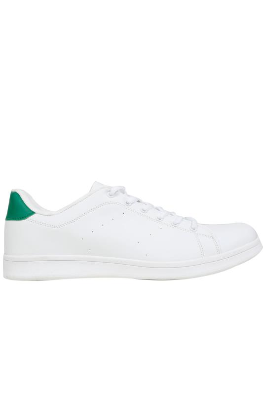 White Lace Up Trainers With Green Heel Detail