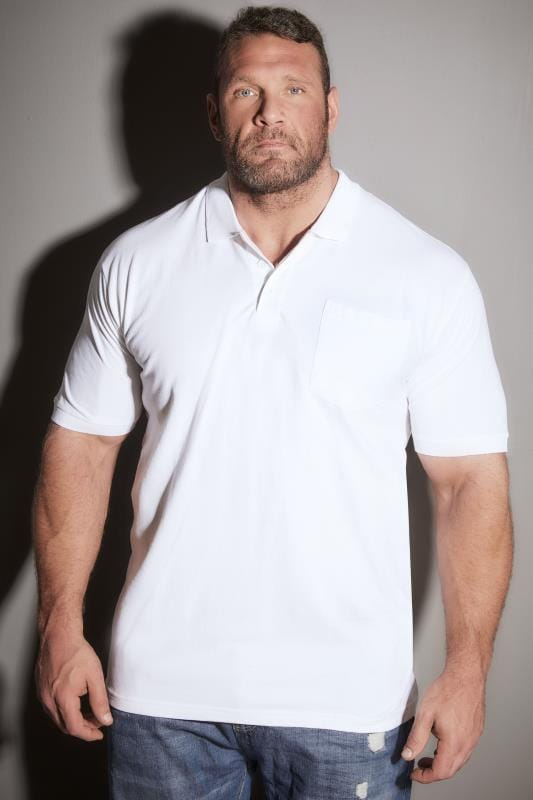 BadRhino White Plain Polo Shirt - TALL