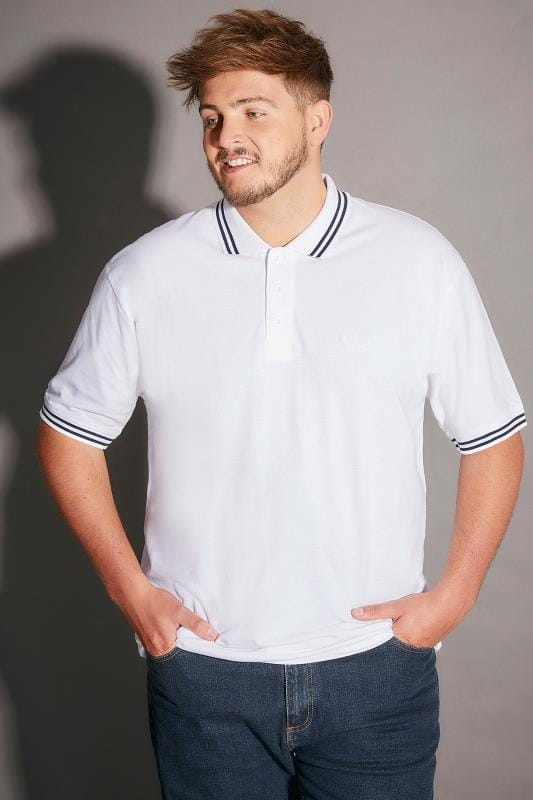 BadRhino White Polo Shirt With Navy Stripe Detail - TALL