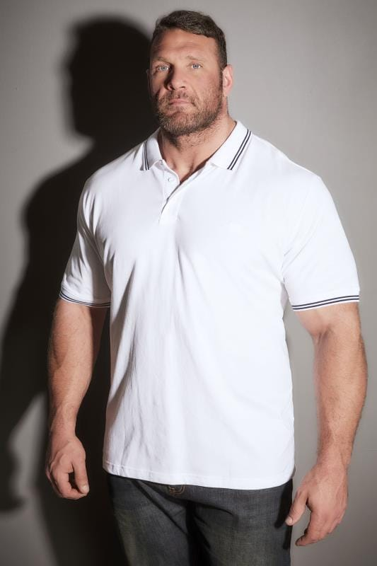Polo Shirts BadRhino White Textured Tipped Polo Shirt 055131