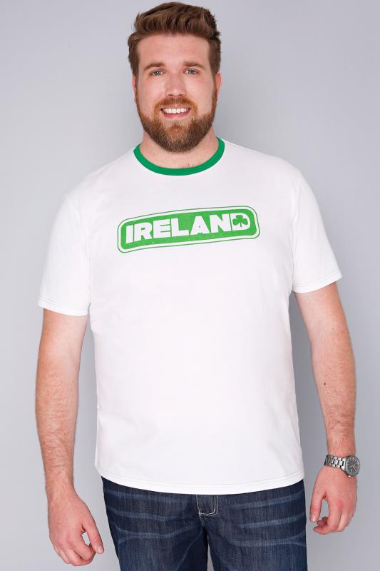 BadRhino White Short Sleeve T-Shirt With Ireland Emblem