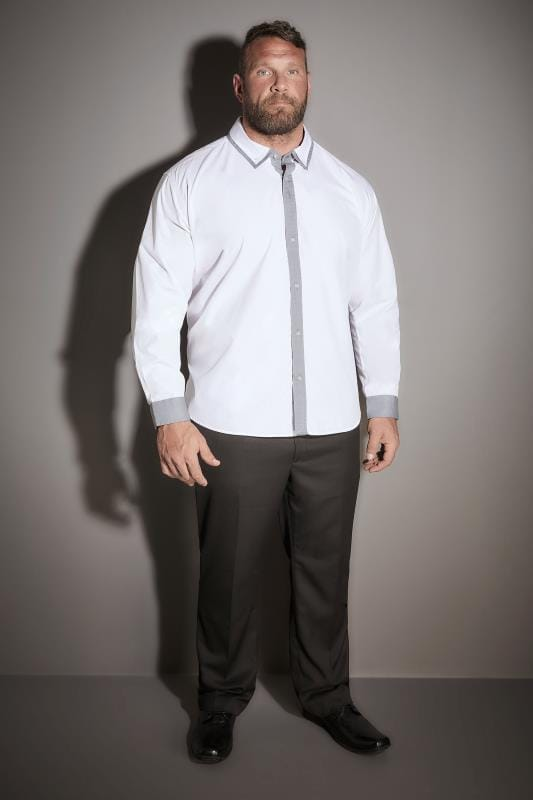 BadRhino White Smart Shirt With Double Collar Detail