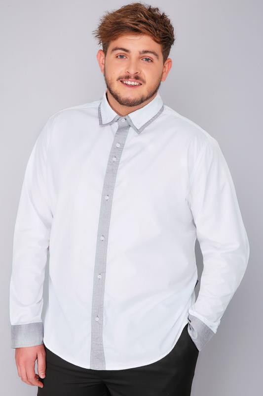 Smart Shirts BadRhino White Smart Shirt With Double Collar Detail 101867