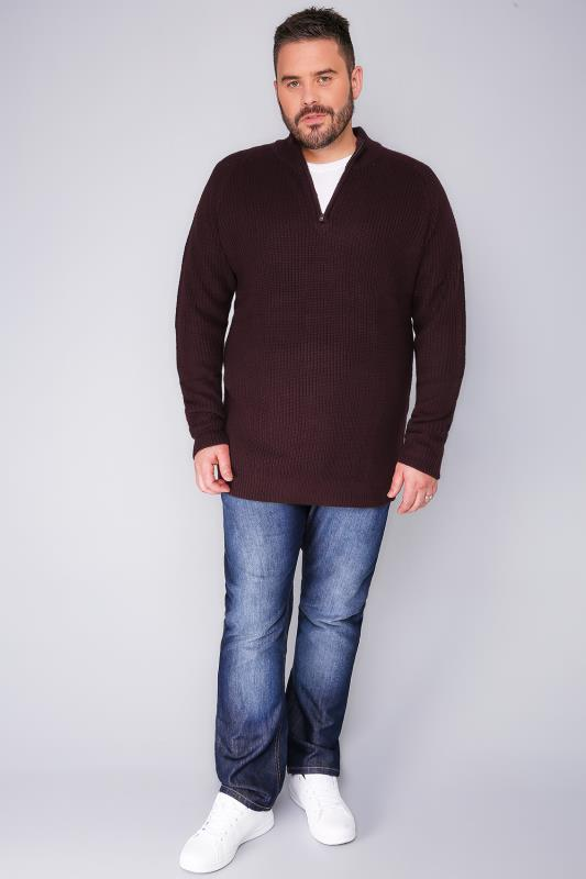 BadRhino Wine Knitted Jumper With Zip Funnel Neck
