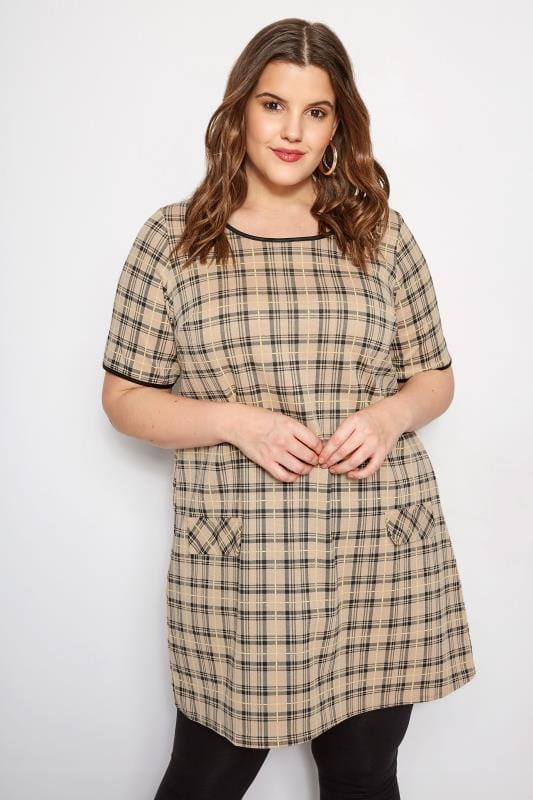Plus Size Tunics Beige Check Tunic Dress