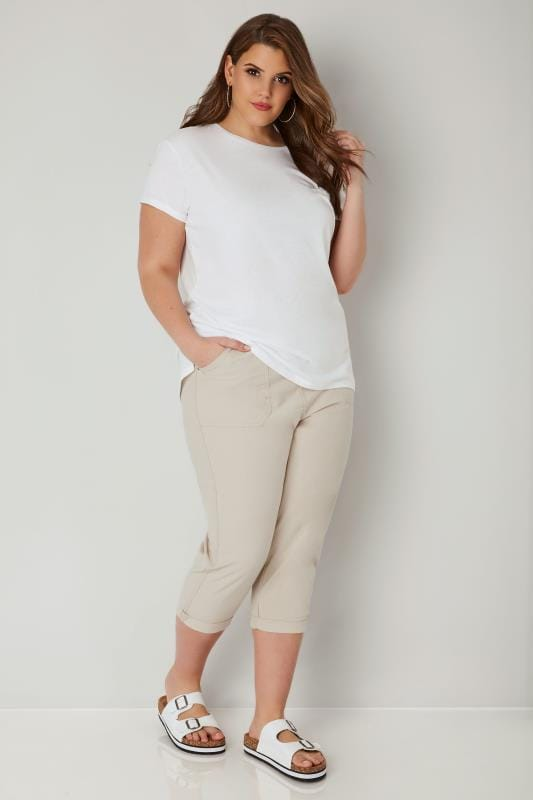 Beige Cool Cotton Cropped Trousers