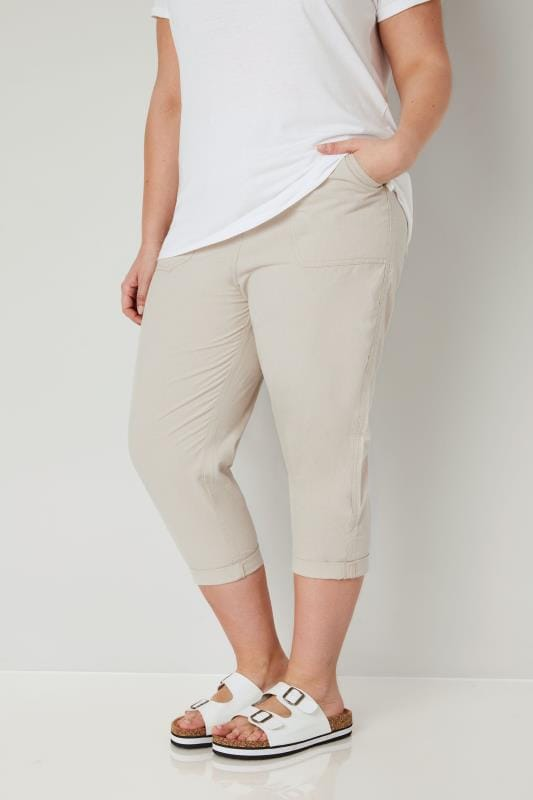 Plus Size Cool Cotton Trousers Beige Cool Cotton Cropped Trousers