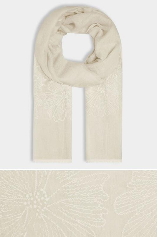 Beige Floral Embroidered Scarf