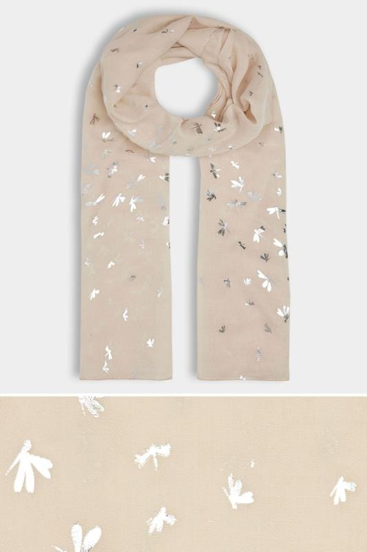 Plus Size Scarves Beige Foil Print Dragonfly Scarf