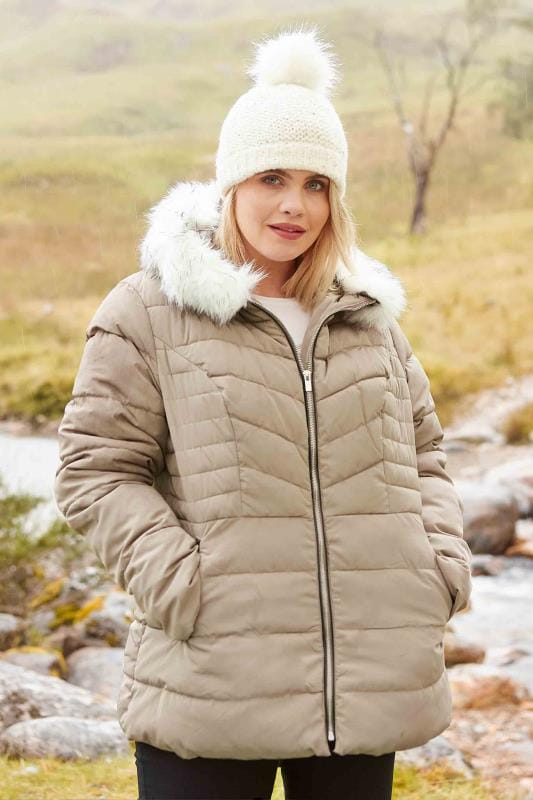 Plus Size Coats Beige Puffa Coat