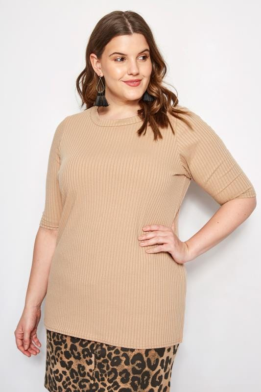 Plus Size Basic T-Shirts & Vests Beige Ribbed Top