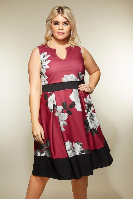 Plus Size Skater Dresses Berry Lily Print Skater Dress