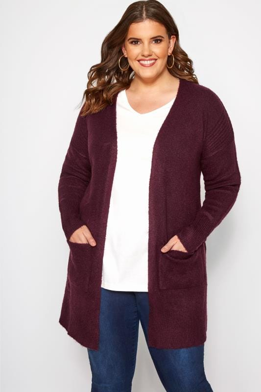 Plus Size Cardigans Berry Ribbed Trim Pocket Cardigan