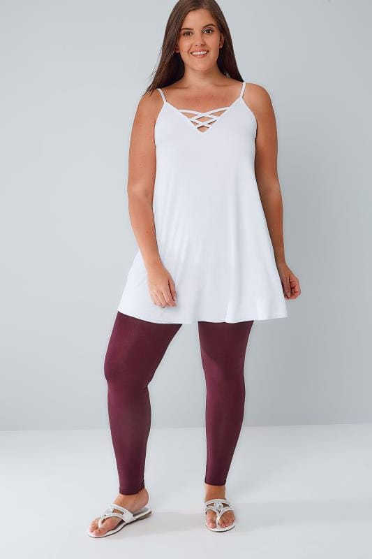 Berry Viscose Elastane Leggings With Elasticated Waist