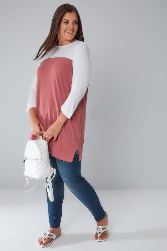 Dusky Pink & White Colour Block Jersey Top With Zip Sides