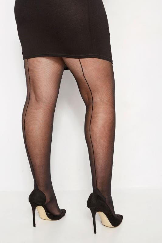 Plus Size Tights Black 20 Denier Seam Back Tights