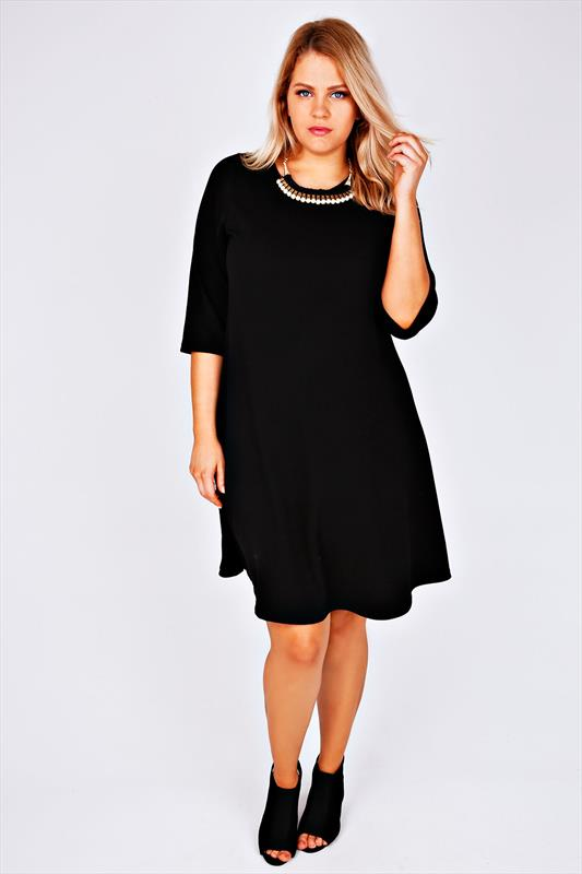 Black 3/4 Sleeve Textured Swing Dress With Statement Necklace plus ...