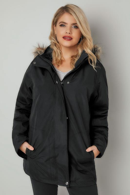 Black 3 In 1 Waterproof & Windproof Coat With Detachable Fleece & Faux Fur Trim Hood